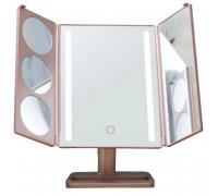 Настольное складное зеркало для макияжа GESS uLike Gold с подсветкой